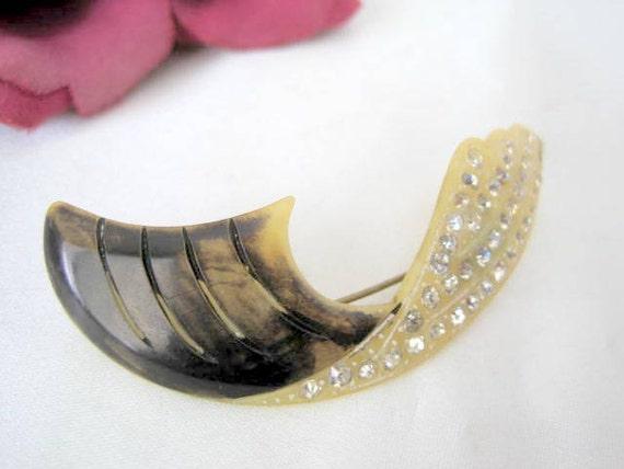 Celluloid  Rhinestone Brooch - Vintage 30's Feather- Rhinestone Design Pin