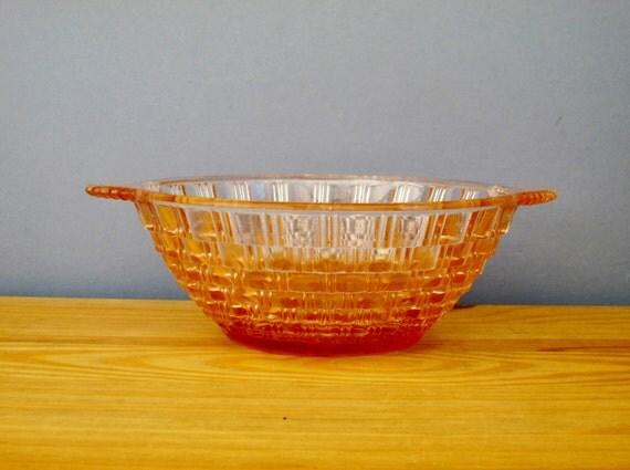 Art Deco Pink Glass Bowl 1930s Home Decor England Vinta