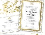 Great Gatsby / Art Deco Themed Gold Foil 3-Layer Wedding Invitation