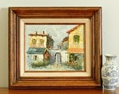 Vintage Original Oil Painting on Canvas Spanish Italian Village Scene French Country Rustic Cottage Chic Decor