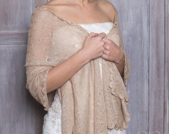 Sale!!! -30% GOLDEN BEIGE SHAWL bridal shawl wedding shrug knitted cover silk and baby alpaca wool exclusive