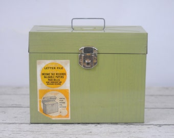 Vintage File-Away Letter File Box Household Filing Box Metal File Box