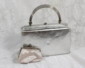 Vintage Evening Bag- Silver Lame' with matching coin purse- Box Style