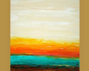 "Art, Beach, Acrylic, Original Paintings, Abstract Painting by Ora Birenbaum Acrylic Art Titled: Aqua Waves 4 36x48X1.5"""