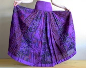 Long skirt - Gypsy Skirt - Patchwork Maxi Skirt - Peasant Skirt by Chandrika Shop - Violet and orange multicolored skirt
