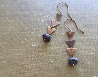 Geometric Earrings, Boho Earrings, Rustic Black with Triangle, Tribal Earrings