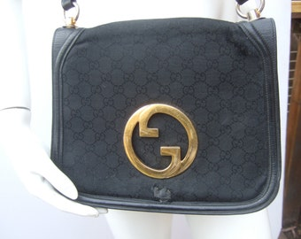 "Gucci 1970s Black Canvas & Leather Blondie Shoulder Bag ""AS IS"""