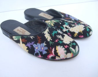 Unique Needlepoint Flower Slipper Shoes