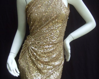 Frederick's of Hollywood Gold Sparkle Sequined Mini Dress US Size Small