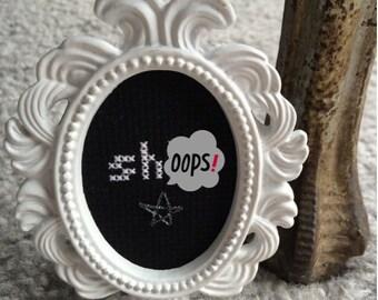 Mini White Baroque Framed Cross Stitch - Sh!t