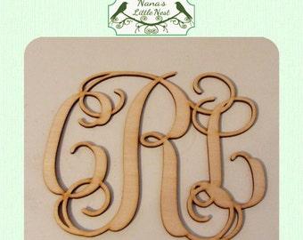 Fancy Vine Monogram  (Large ) Wood Cut Out -  Laser Cut
