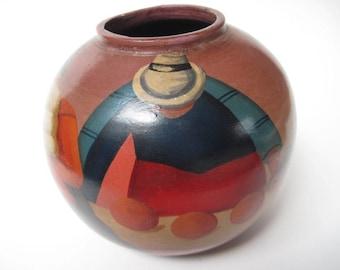 Vintage Signed Martinez South American Pottery Vase