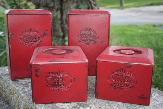 rustic red wooden canister set shabby chic kitchen decor 3 piece vintage wood kitchen canister set painted green
