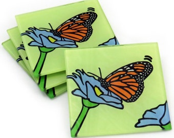 Monarch Butterfly Tempered Glass Coasters