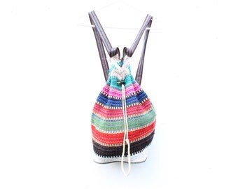 90s Rainbow Woven Knit Slouchy Grunge / Hippie Backpack