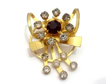 Rhinestone Flower Brooch Pendant Red Clear Rhinestone Gold Circle Bow Flower Pin Scarf Pin Lapel Pin Flower Pendant Brooch Pocket Pin DD 499