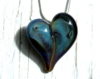Glass Heart Necklace, Handblown Borosilicate Pendant, Lampwork Focal Heart Jewelry, Shooting Star Glass