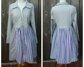 Upcycled Clothing, Ladies Rag Doll Dress - Grey Cotton Patchwork Dress with  Purple and White Striped Front Panel, Ladies Large