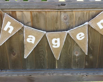 Custom Upcycled HAGEN Burlap Banner (White with White Felt Backing) Rustic Baby Bunting Eco-Friendly Home Decor