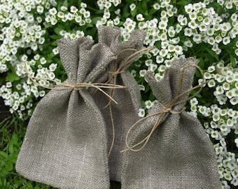 "Natural Grey Linen Favor Bags 3 1/2""x6"" Set of 25"