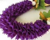 Hawaiian Ribbon Lei Dark Purple and Gold Kukui Nut Carnation Lei