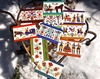 Vintage Postcards from Poland, Kordry Lowickie Post Cards, 1950s Vintage Postcard, Polish Folk Art. Polish Cards, Polish Postcards, Ephemera