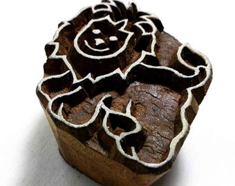 Wooden Printing Stamp Lion Block for Printing - Textile and Paper Printing Stamp - Block Printing Supply