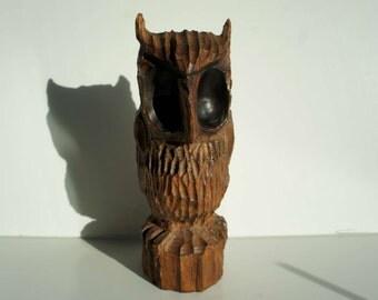 Vintage Handcarved Wood Owl Statue 1970s