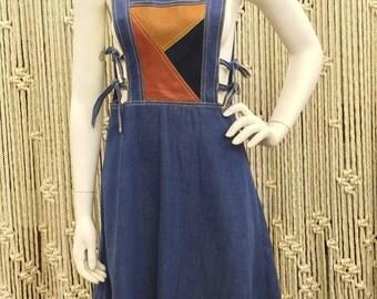 1970s Dr. Denim and Mr. Hide denim and leather patchwork pinafore/jumper dress