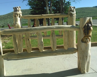 Log Bed with or without Carved Bears, Bear Bed, rustic decor, bear carvings, log furniture, cabin decor, rustic bed, lodge, lake house