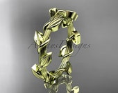 Unique 14kt  yellow gold  leaf and vine  wedding ring ADLR248B