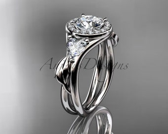 Platinum diamond unique engagement ring, wedding ring ADLR314