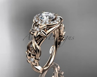 14kt pink gold diamond unique engagement ring,wedding ring ADLR300