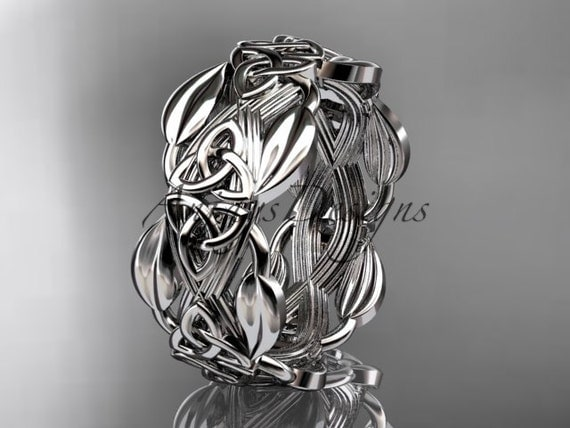 14kt white gold celtic trinity knot wedding band engagement