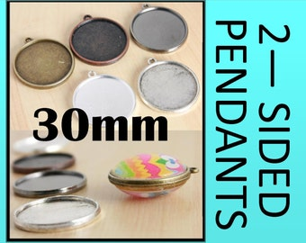 10 Two Sided Pendant Blank  30mm Bezel Tray - 2 Sided Pendant Charm-Optional  20 Glass pcs and Seals 20 or 40 count.  Ships from USA