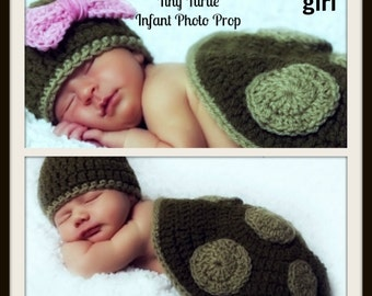 Tiny Turtle Infant Costume or Photo Prop for boy or girl