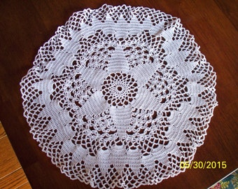 "16"" White Six-Pointed Center Star Crocheted Doily"