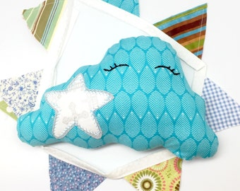 Soft cloud toy, nursery pillow, decorative pillow, white star, nursery decor, baby shower gift, cotton fabric cloud, first birthday gift