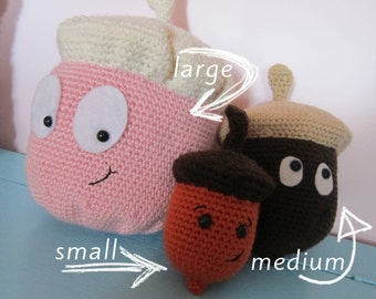 DIGITAL PATTERN: Amigurumi Acorns in Three Sizes