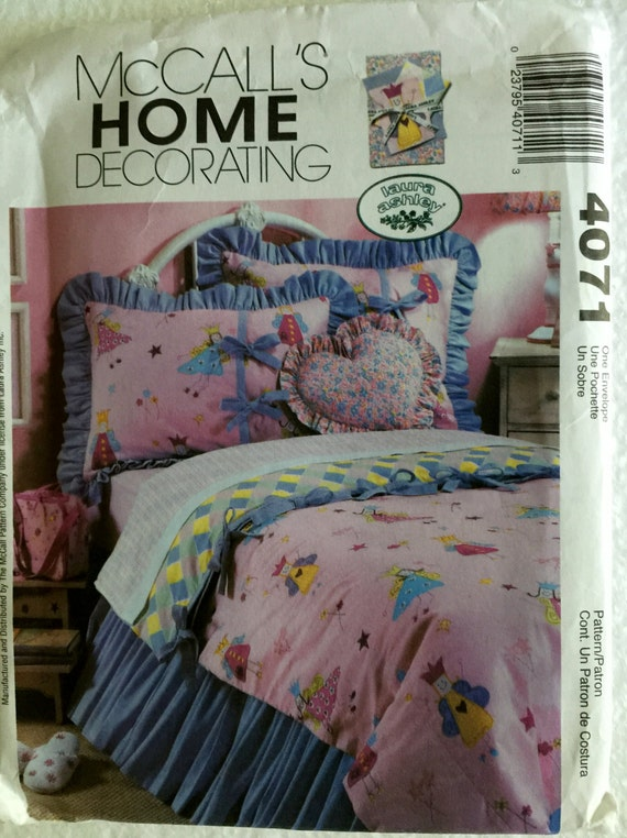 mccalls home decorating girls twin bedding fairy funny shams quilt bedskirt sewing pattern 4071 uncut uc ff valance panels - Home Decorating Bedding