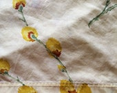 Vintage Queen Flat Bed Sheet - Light Yellow w/ Yellow Pussy Willows