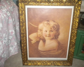"""Vintage Framed Print of """"The Archer"""". Litho USA ,Signed, Wood Frame, Angel,Antique Classic Collection"""
