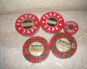 Set of 5 Vintage Scotch and Texcel Tape Tins, Storage Tins, Collectible Tins