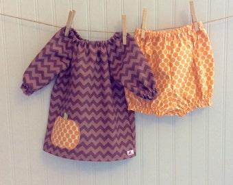 PUMPKIN DRESS with coordinating BLOOMERS  ..our ever-popular brown tonal chevron dress with offset pumpkin