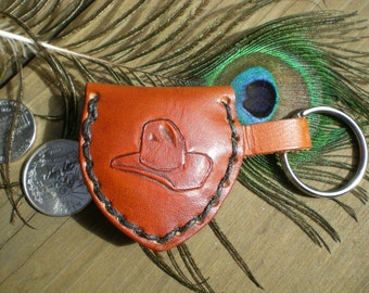 handmade leather keychain / cowboy hat design / guitar pick holder/ small pouch