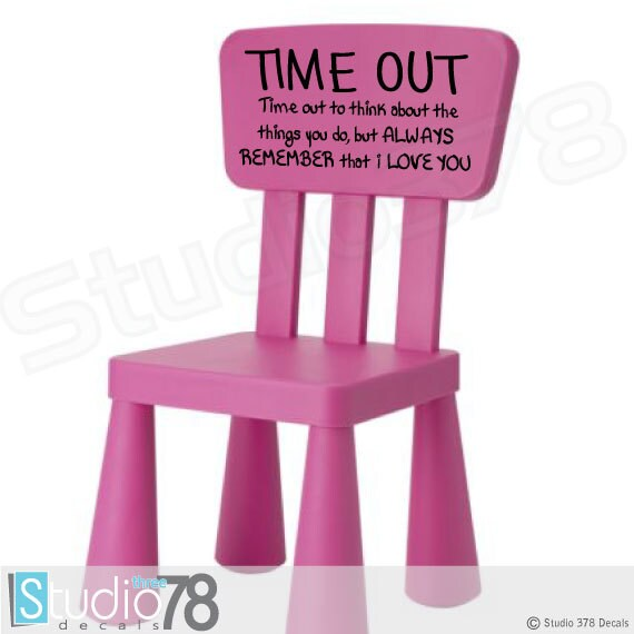 Time Out Chair Vinyl Decal Toddler Naughty By Studio378decals