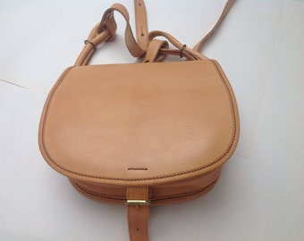 SALE Tanned Saddle leather saddle bag, vintage, unused box bag