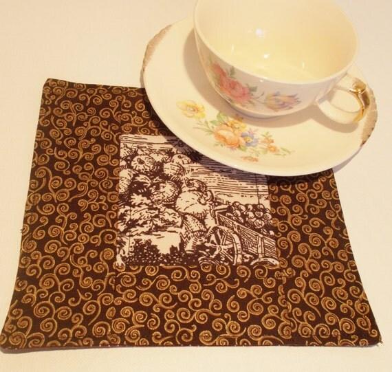 Mug Rug Drink Coaster Fabric Coaster Fall Mug Rug Snack