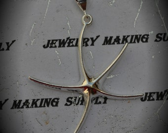 Genuine Solid Sterling Silver Large Starfish Pendant