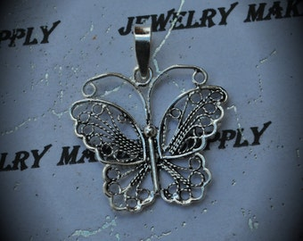 Genuine Sterling Silver Filigree Wide Butterfly Pendant With Large Bail